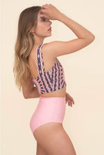 pink reversible high waisted bikini bottom