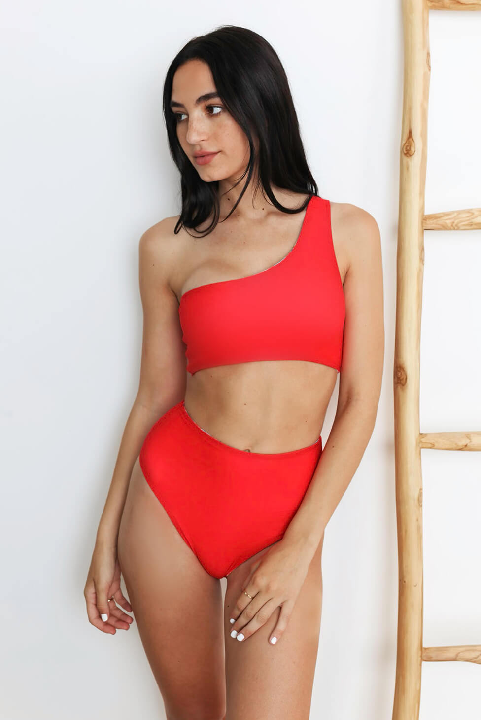 Santorini Reversible High-Waisted Bikini Bottom