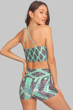 Jungle Helix yoga shorts green