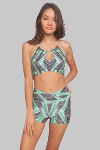 Jungle Helix green yoga shorts