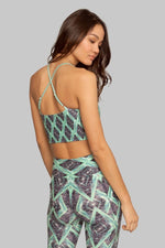 Sustainable Reversible Yoga Top Green Jungle Helix Keyhole Top