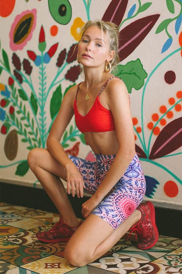 Red Flower Bike Short