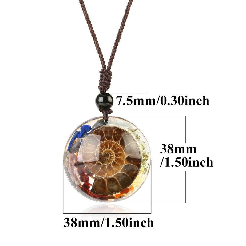 Ancient Ammonite - Crystal Chips Shell Pendant Necklace