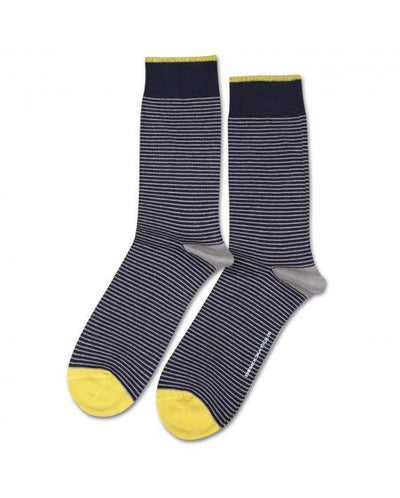 DEMOCRATIQUE // ORIGINALS MINI STRIPES NAVY / STONE / DUSTY YELLOW | SOCKS at LOWELL MTL