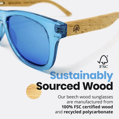 KIDS POLARIZED SUNGLASSES WITH RECYCLED FRAMES AND BEECH WOOD ARMS
