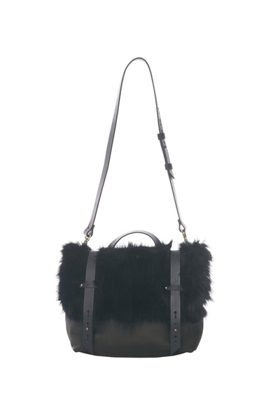 LOWELL // DEZERY RECYCLED FUR BLACK DYED RACOON | FUR BAGS at LOWELL MTL