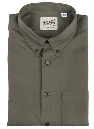 NAKED AND FAMOUS // REGULAR SHIRT ARMY OXFORD ARMY GREEN | SHIRTS at LOWELL MTL