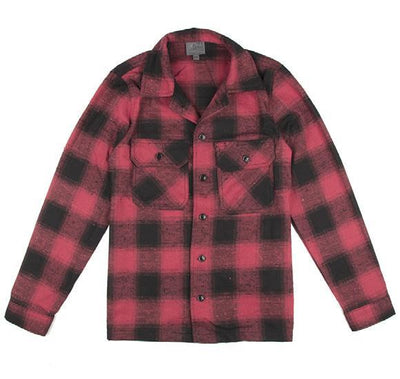 NAKED AND FAMOUS // WORKSHIRT RED/BLACK | SHIRTS at LOWELL MTL