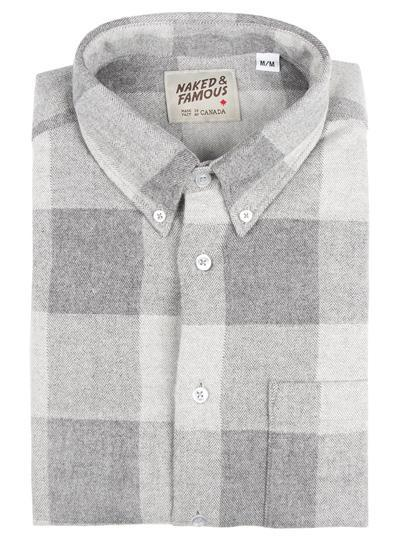 NAKED AND FAMOUS // REGULAR SHIRT DOBBY BUFFALO CHECK GREY | SHIRTS at LOWELL MTL