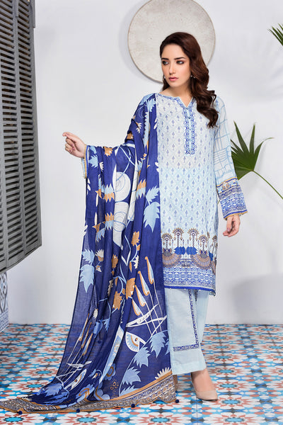 Zaitoon Aztec Blue Digital Printed Cotton Lawn Salwar Suit Set (Unstitched) (5877808103588)