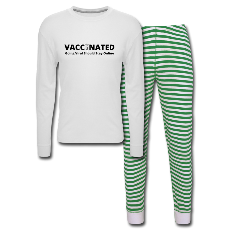 VACCINATED - Going Viral Should Stay Online - Unisex Pajama Set - white/green stripe