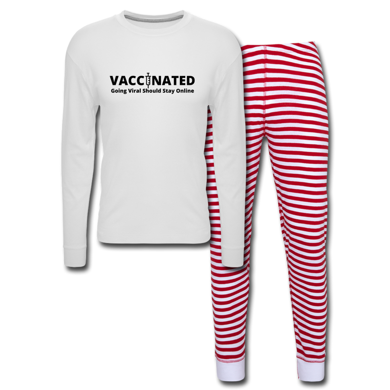 VACCINATED - Going Viral Should Stay Online - Unisex Pajama Set - white/red stripe