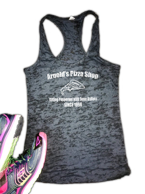 Arnold's PIzza Shop Women's Burnout Racerback Tank