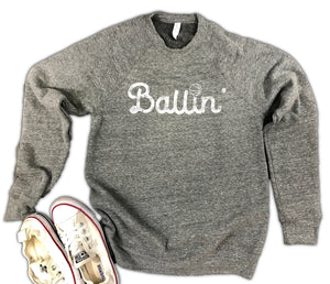 Ballin' Basketball Unisex Triblend Fleece Sweatshirt