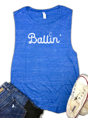 Ballin' Women's Football Muscle Tank