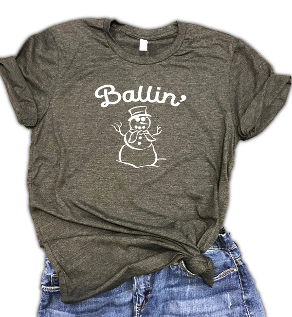 Ballin' Snowman Unisex Relaxed Fit Soft Blend Tee