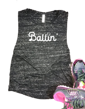 Ballin' Women's Baseball Muscle Tank