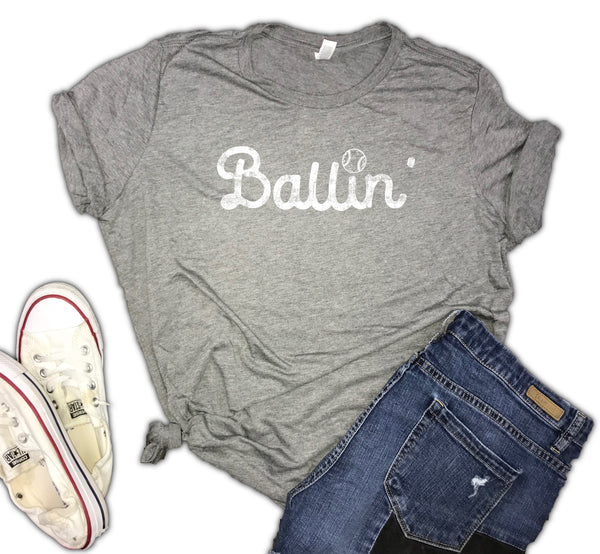 Ballin' Baseball Women's Triblend Shirt