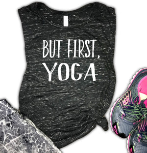 But First Yoga Women's Workout Muscle Tank
