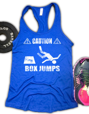 Caution Box Jumps Women's Racerback Tank