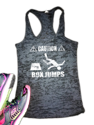 Caution Box Jumps Women's Burnout Racerback Tank