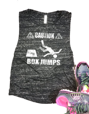 Caution Box Jumps Funny Women's Workout Muscle Tank