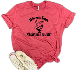 Where's Your Christmas Spirits Unisex Relaxed Fit Soft Blend Te