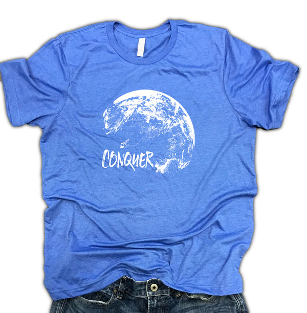 Conquer World Motivational Unisex Relaxed Fit Soft Blend Tee