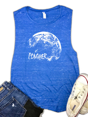 Conquer World Motivational Women's Muscle Tank
