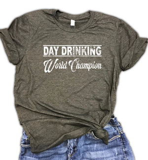 Day Drinking World Champion Unisex Relaxed Fit Soft Blend Tee