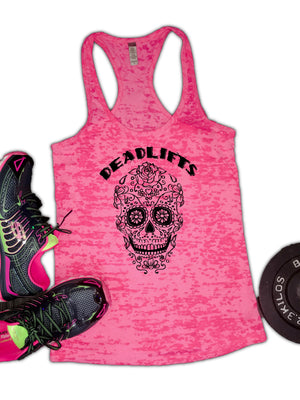 Deadlifts Mexican Candy Skull Burnout Racerback Tank