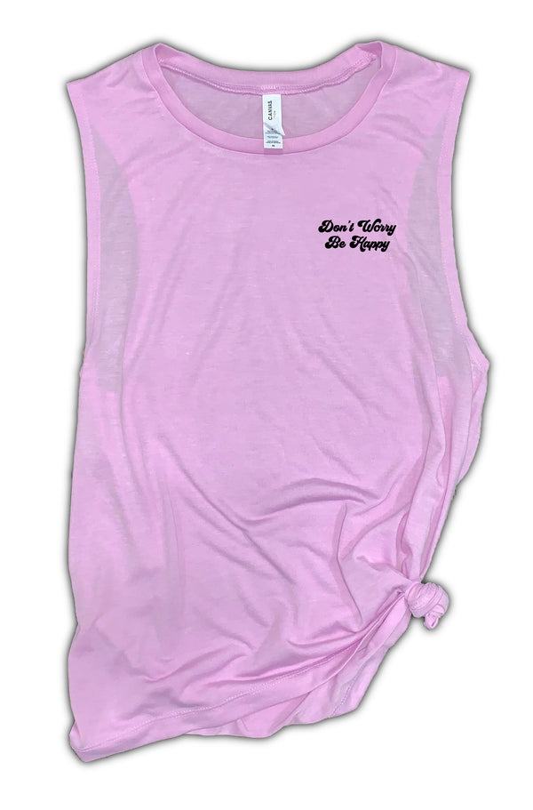 Don't Worry Be Happy Women's Muscle Tank