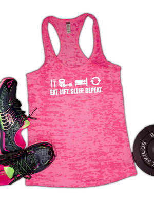 Eat Lift Sleep Repeat Burnout Racerback Women's Tank