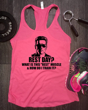 Rest day workout tank tank, arnold tank, funny arnold tank, womens funny workout tank, workout tank top, womens workout tank, fit