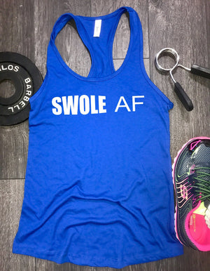 Swole AF womens workout tank, workout tank womens, funny workout tank, funny gym top, workout clothing, workout clothes, workout racerback