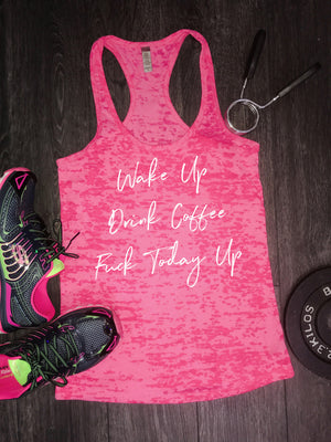 Wake up drink coffee, tank tops for women, racerback tank, burnout tank, stylish tank, beach tank, womens top, workout tank, fitness tank