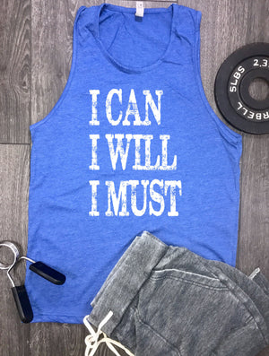 I can I will I must mens workout tank, workout tank, mens gym tank, workout motivation, best workout tank, workout clothing, tank workout