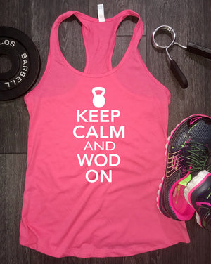 Keep Calm and WOD On Women's Racerback Tank