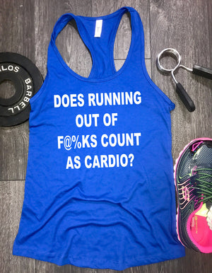 does running out of fucks count as cardio workout tank, fitness shop, yoga clothes, tank tops for women, fitness clothing, workout tank