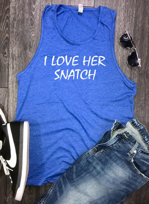 I love her snatch mens workout tank, funny workout tank, mens gym tank, mens workout t shirt, workout clothing, working tank top