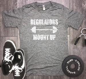Regulators mount up mens workout shirt, mens gym shirt, gangster rap workout shirt, barbell workout shirt, rap lyrics shirt, regulators tee
