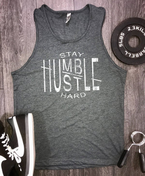 Hustle mens workout tank... stay humble, mens gym tank, motivational tank, gym tank for men, workout tank for men, tank tops for men