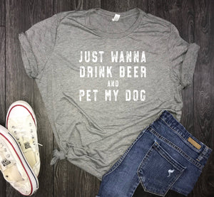 drink beer and pet my dog womens jersey tshirt, dog mom, fur mama, dog shirt for women, womens dog shirt, brewery shirt, beer and dogs