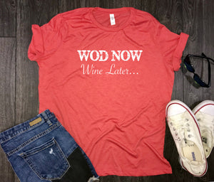 WOD Now Wine Later Women's Triblend Workout Shirt