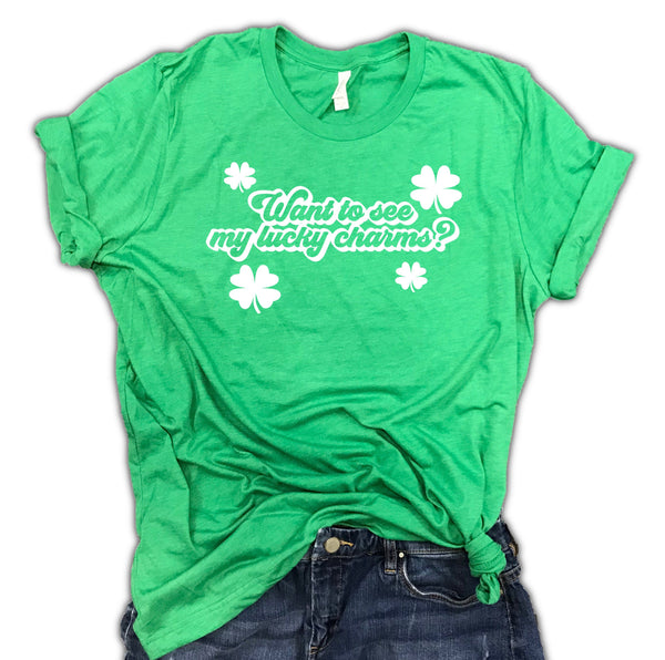 Want to see my lucky charms St. Patrick's day unisex tee