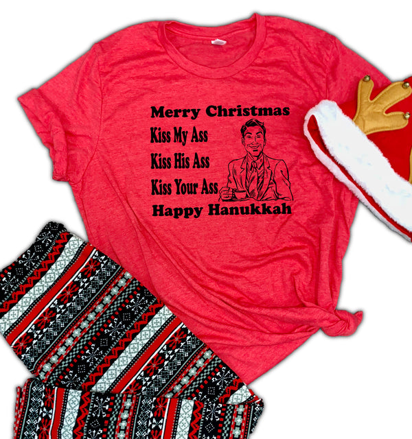 Merry Christmas Kiss His Ass Unisex Relaxed Fit Soft Blend Te