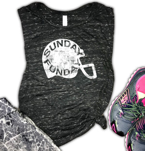 Sunday Funday Football Helmet Women's Muscle Tank