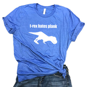 T-Rex Hates Plank Yoga Unisex Relaxed Fit Soft Blend Tee