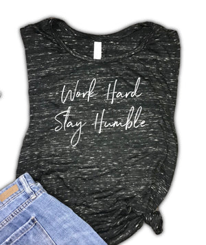 Work Hard Stay Humble Motivational Women's Workout Muscle Tank