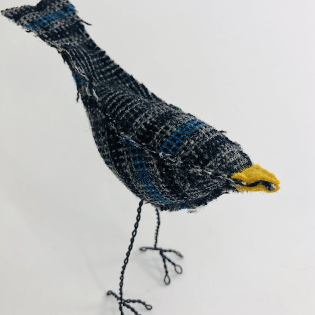 Bird with Wire Legs - Grey an Blue Plaid